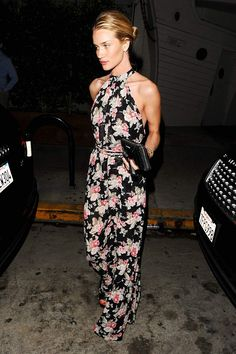 Rosie Huntington-Whiteley stuns in a floral jumpsuit. #NYC