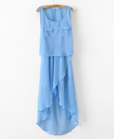 To find out about the Pockets Blue Round Neck Sleeveless Irregular Chiffon Dress at SHEIN, part of our latest Dresses ready to shop online today! Blue Chiffon Dresses, Women's Dresses, Dresses Online, Glamour, Latest Dress, Look Cool, Dress Me Up, Dress To Impress, Style Inspiration