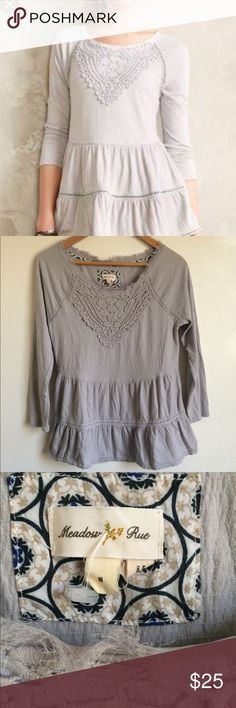 Anthropologie meadow rue grey blouse Perfect condition meadow rue for anthro grey blouse with crochet detail. Raw edge around collar. Let me know if you have any questions or need any measurements 😊. Anthropologie Tops Blouses