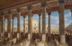 Solomon's Porch was on the eastern side of the Court of the Gentiles.  It was a double colonnaded courtyard of monolithic, white, marble pillars with a roof covering of cedar beams. The portico could be entered directly through the 'Golden Gate' opposite the Mount of Olives