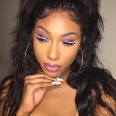 gawdessthemua   purple eyeshadow and white eyeliner, makeup, black girl stylin'
