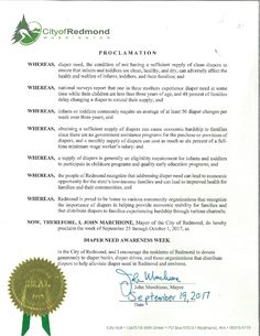 REDMOND, WA – Mayoral proclamation recognizing Diaper Need Awareness Week (Sept 25-Oct 1) #DiaperNeed Diaperneed.org