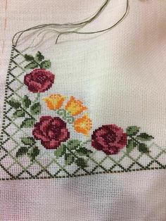 This Pin was discovered by Hül Cross Stitch Letters, Cross Stitch Rose, Cross Stitch Borders, Cross Stitch Flowers, Cross Stitch Kits, Cross Stitch Charts, Cross Stitch Designs, Cross Stitching, Cross Stitch Embroidery