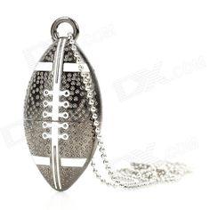 American Football Ball Style USB 2.0 Flash Drive - Dark Silver (16GB)