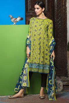 Khaadi 2 Piece Stitched Printed Lawn Suit - L17109-A - Yellow - libasco.com    #khaadi #khaadionline #khadiclothes #khaadi2017 #kaadisummer