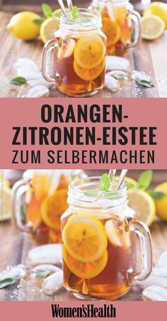 8 refreshing lemonade recipes without sugar 8 erfrischende Limonaden-Rezepte ohne Zucker Making iced tea yourself is easy, especially healthy without sugar! Our recipe for orange and lemon soda is perfect for summer! Summer Desserts, Summer Drinks, Summer Recipes, Healthy Eating Tips, Healthy Drinks, Healthy Recipes, Smoothie Bol, Smoothies, Tea Recipes