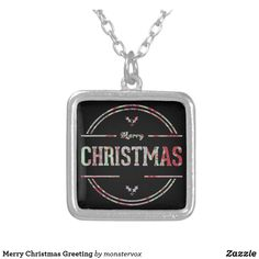 Merry Christmas Greeting Silver Plated Necklace #Holiday #Christmas #Fashion #Jewelry #Necklace