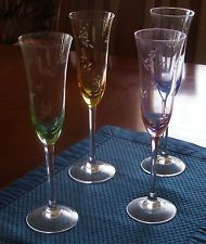 Colored Etched Champagne Flutes Glasses (4) Blue Pink Yellow Green  No Reserve