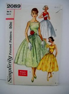 50s Simplicity 2089  Fitted and Flared Dress with by LittleLov, $29.00