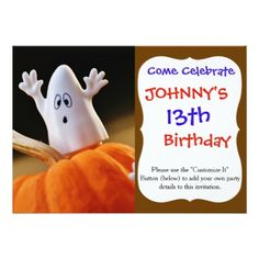 #Pumpkin and ghost - funny ghost - orange pumpkin card - #birthday #invitations