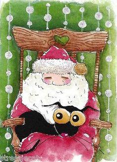 ACEO Original Watercolor Folk Art Christmas Santa Rocking Chair Black Cat Lights | eBay