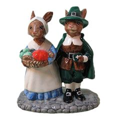 These would be cute on a mantel piece or centerpiece. Royal Doulton Pilgrim Bunnykins