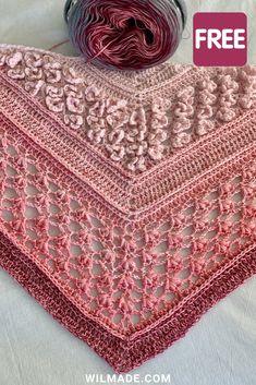 Vela Flower Shawl is a FREE crochet pattern on wilmade.com including video. This triangle shawl features beautiful flower stitches. #crochet #pattern #shawl #scarf #triangleshawl #yarncake #scheepjeswhirl #hobbii One Skein Crochet, Diy Tricot Crochet, Poncho Au Crochet, Crochet Shawls And Wraps, Crochet Scarves, Crochet Stitches, Crochet Vests, Crochet Cape, Crochet Shirt