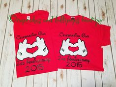 A personal favorite from my Etsy shop https://www.etsy.com/listing/259760442/anniversary-couple-disney-trip-shirt