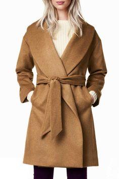 Shawl Neck Self-Tie Belt Camel Wool Coat