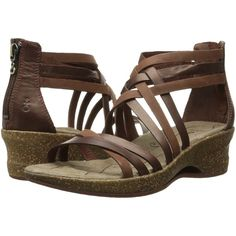 Ahnu Trolley (Brandy) Women's Dress Sandals ($48) ❤ liked on Polyvore featuring shoes, sandals, brown, zip shoes, brown shoes, platform shoes, mid heel dress sandals and zipper sandals