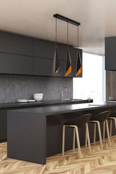 Wood floor kitchen - Velo Linear Pendant is inspired by draped fabric bringing a dramatic sculptural look to any room in your home Finished in Matte Black with a luxurious Gold Foil interior Available in two sizes Incl Kitchen Ikea, Rustic Kitchen, Kitchen Furniture, New Kitchen, Kitchen Cabinets, Kitchen Hacks, Kitchen Backsplash, Kitchen Appliances, Eclectic Kitchen