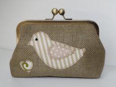Birdie Applique Antique Brass Clasp Purse / by LizzieGOriginals, £20.70 So cute.