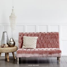 We are in love with this gorgeous rose velvet couch. Lene Bjerre SS17 Collection. Spring/Summer 2017.