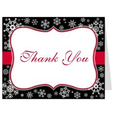 """""""Snowfall Kind of Love"""" Snowflake Thank You Card - Great idea for winter weddings, this red, black and white Thank You card is perfect for weddings or bridal showers with snowflakes type of a theme - via www.theinvitelady..."""