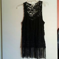 Black lace and fringe tank top Black lace tank top with fringed bottom-all lace back. Super cute! Never worn! Buckle Tops