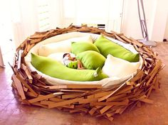 Bird nest bed looks unique and appropriate to put in the child's bedroom or living room. The mattress was filled pillow that feels soft and comfortable. We guaranteed your child will be easy to sleep or playing in there. Dreams Beds, Awesome Bedrooms, Cool Beds, My New Room, My Dream Home, Decoration, Bean Bag Chair, Sweet Home, House Design