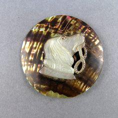 Antique mère sculptée de Pearl trouver Craft fournitures fournitures de bijoux Antique sculptés la tête de chien