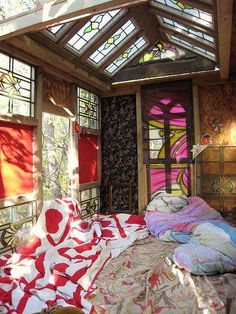 Colorful glass room