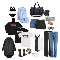 """Packing list"" by andreaellegaard ❤ liked on Polyvore featuring T By Alexander Wang, Current/Elliott, Levi's, Vetements, Acne Studios, H&M, adidas Originals, Birkenstock, Hunter and DAY Birger et Mikkelsen"