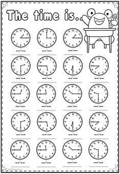 Telling Time Worksheets Kindergarten Telling Time Practice Page Math Addition Worksheets, First Grade Math Worksheets, English Worksheets For Kids, English Lessons For Kids, Kindergarten Worksheets, Multiplication Worksheets, Clock Worksheets, Money Worksheets, Homeschool Math