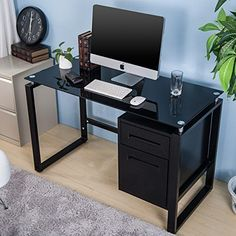 Home Decorators Collection | Merax Home Office Computer Desk Table Workstation with Metal Cabinet and Glass Top Black >>> Check this awesome product by going to the link at the image.(It is Amazon affiliate link) #follow4follow