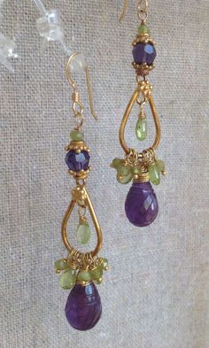 Carved Amethyst Peridot and Swarovski by MustardSeedTreasures, $68.00
