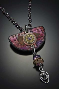 Halfmoon in Plum and Steel by Tish Collins Polymer ~  x