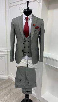 Mens Fashion Suits, Fashion Wear, Mens Suits Style, Mens Casual Suits, Suit Styles, Grey Suit Men, Dress Suits For Men, Suit And Tie, Men's Business Outfits