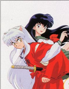 InuYasha (a half dog-demon) and Kagome (a girl from modern Tokyo; a reincarnated archer priestess). Giving her a lift! - InuYasha