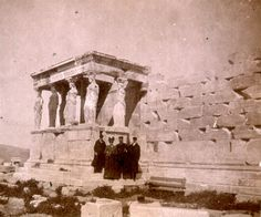 Anonymous (possibly American, active c. 1900), Snapshot of a tourist family in front of the Erechtheion's Caryatid Porch, c. 1894–1902. Collection of Middlebury College Museum of Art. Gift of an anonymous donor, 2004.038.