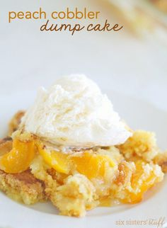 Peach Cobbler Dump Cake Recipe | Six Sisters' Stuff