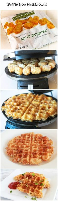 Waffle Iron Hashbrowns These waffle iron hashbrowns are great. Ore Ida tater tots, Defrost 20 for 1 min. Set waffle iron to med-high and cook for 8-10 min.