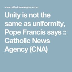 Unity is not the same as uniformity, Pope Francis says :: Catholic News Agency (CNA)