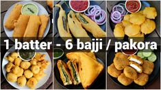 1 batter 6 bajji or pakora recipes Savory Snacks, Easy Snacks, Yummy Snacks, Snack Recipes, Cooking Recipes, South Indian Snacks Recipes, Deep Fried Recipes, Paneer Pakora Recipes, Chaat Recipe