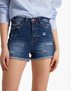 High waist vintage shorts - Shorts | Stradivarius Hungary