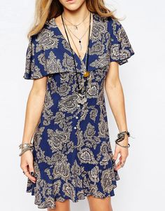 Image 3 ofReclaimed Vintage Button Front Mini Tea Dress With Ruffle Detail In Paisley Print