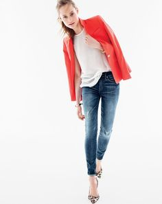 J.Crew women's Regent blazer, grid mesh racerback tank, toothpick Cone Denim® jean in destroyed wash and Collection Colette calf hair d'Orsay kitten heels.