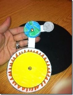 model showing the earth's rotation around the sun and the moon's rotation around the earth