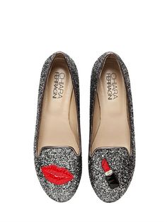 these lipstick glitter loafers would pair nicely with our smoke and kisses bobbi set!