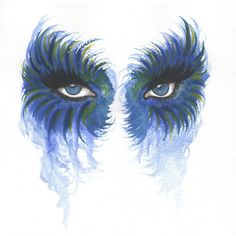 Original Water colour painting - A4 - Eyes 10 - Blue eyes ($40) ❤ liked on Polyvore