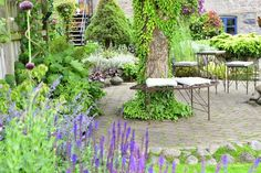 Simple and elegant furniture around the beautifull tree