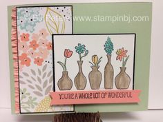 Stampin' Up!, VIvid Vases, Love this new single stamp!   Quick, easy - and a perfect one to have on hand when you need a quick card!  Big enough to be a great focal point on a card - and a greeting that can be used for multiple occasions!  The DSP is a sneak peak from Sale-a-Bration 2014, by BJ Peters at www.stampinbj.com