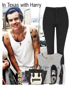 """""""In Texas with Harry"""" by diirectiioner69 ❤ liked on Polyvore featuring Topshop, RVCA, Vans, CÉLINE and Atmos&Here"""