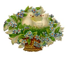 Antique Pictures - Flower Baskets - Doves - The Graphics Fairy